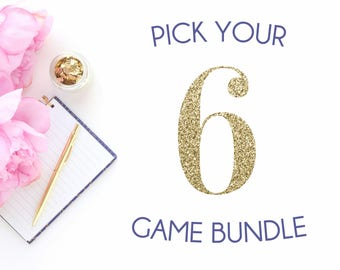 Pick any 6 baby shower games in my shop | Baby shower game bundle | Navy blue shower games package | It's a boy blue theme shower bundle