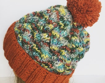 Hand Knit Braided Cable Hat with Pom Pom, Orange Cable Knitted Beanie, Ski Snowboard
