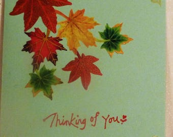 Handmade Greeting Card,  Thinking of You Card, Leaves on Green Card, All Occasion Card,  Greeting Card, Made in the USA, #60