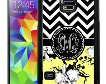Monogrammed Rubber Case For Samsung Note 3, Note 4, Note 5, or Note 8- Yellow Flower Chevron