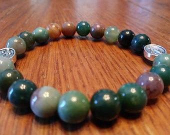 2 Decade Rosary Bracelet, Multi-Colored Jasper Bead Bracelet