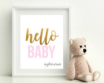 Hello Baby, Girls Nursery Art Printable, Pink And Gold, DIY Baby Gift Idea, Home Wall Decor, Instant Download 8x10 JPEG