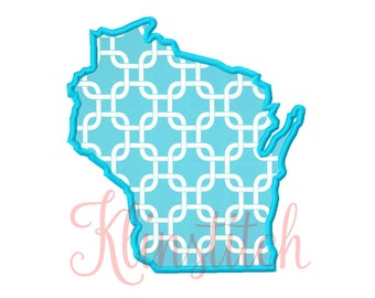 50% Sale!! Wisconsin State Applique Designs 9 Sizes Embroidery Designs USA State Outline Embroidery PES Embroidery Designs