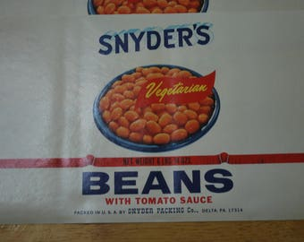 Lot of 10 Labels - Snyder's Vegetarian Beans With Tomato Sauce (Baked Beans) - Old Stock Advertising Tin Can Label - Never Used!!