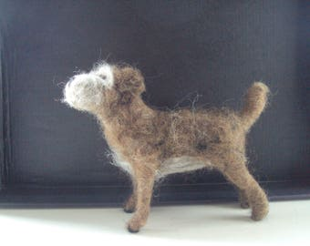 Needle felted Border Terrier wool sculpture handcrafted unique gift