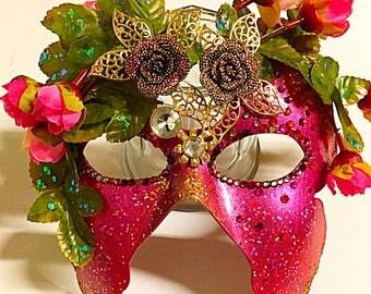 La Vie, fairy mask, flower mask, gala mask, festival mask, Mardi Gras mask, masquerade mask, rose mask, valentines gift, party mask