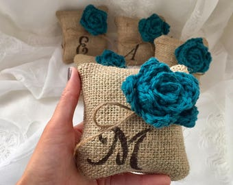 Monogramed Mini Pillow, *Teal* Burlap monogramed pillow, Set of 3,4,5  Burlap w/Flower, Bridesmaids' gift, Bridal Gift, Wedding Decor, favor