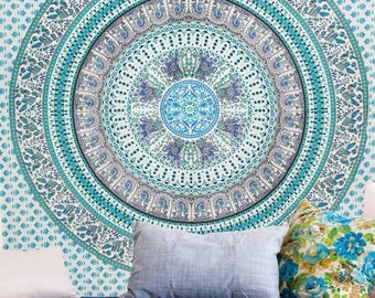 Boho Queen Size Mandala Tapestry - Green Paradise