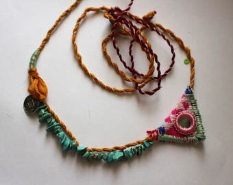 Handmade one of a kind bohemian necklace , can be worn many different ways
