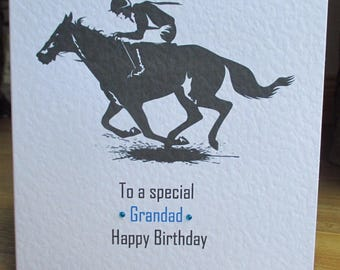 Personalised Handmade Horse Racing Jockey Birthday Card Any Relation Any Age