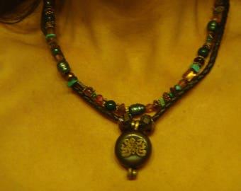 Beautiful Semi-Precious stone and Asian Pendant Necklace