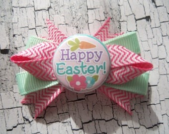 "CBC~2"" Boutique Dog Bow~Happy Easter~Pink & Mint Green~Girl~Barrette Clip Collar~Yorkie Maltese Shih-Tzu"