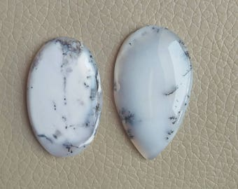 2 Piece Natural Dendrite 100% Loose Cabochon Oval and Pear Shape Stones, Wholesale Price Gemstone, Dendrite Opal Cabochon Weight 91 Carat