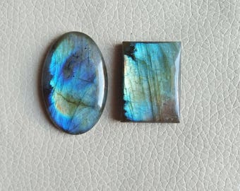 GEMSTONE LABRADORITE, Natural Labradorite 02 Pieces Gemstones 127 Carat Weight, Size - 43x28x8, 33x25x9 MM Approx. Labradorite Pendant Stone