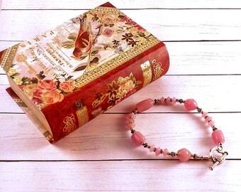 Handmade Pink Glass Bracelet
