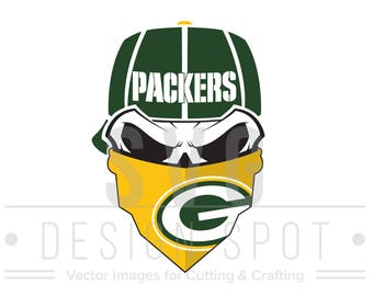 Green Bay Packers Skull SVG Wall Art for Cricut Silhouette Cameo, Packers Poster, Decal, Sticker Vector Design Files - Eps Svg Dxf Png