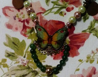 Glass Pearl Butterfly Necklace