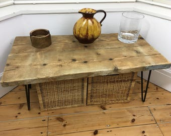 Industrial Reclaimed Scaffold Board Coffee Table with Hairpin Legs