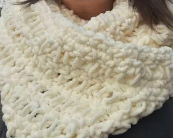 Cream Infinity Scarf - Crochet