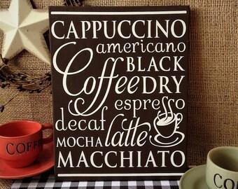 Coffee Wood Sign, Coffee Subway Art, Rustic Coffee Sign, Coffee Wall Decor,