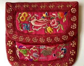 Antique 19th/20th Chinese Embroidered silk purse pouch wallet embroidery