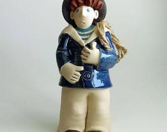 Ceramic sailor mariner seaman handmade sculpture