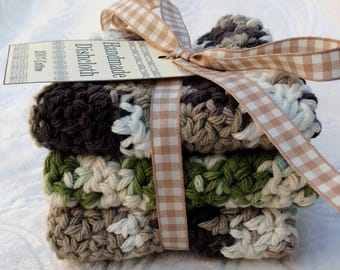 Crochet Cotton Dishcloth gift set of 3, brown and green