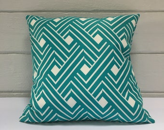 Turquoise Pattern Outdoor Cushion