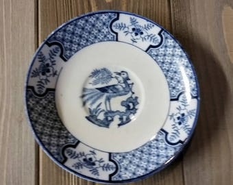 Vintage Blue and White Yuan Woods & Sons England Small Fruit Bowl Single Bird