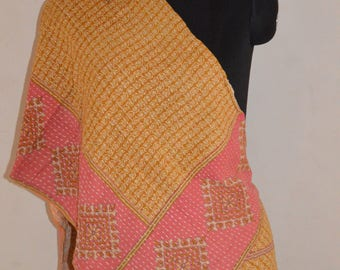 Reversible Indian  Handmade Vintage Cotton Kantha Stole Neck Wrap Scarf KS06