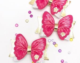 Pink butterfly glitter hair bow medium small dolly bow spring summer clip headband