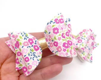 Liberty pink pastel flowers floral fabric Medium hair bow clip headband hair accessories