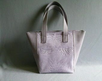 Leather Grey pink shopper, leather bag, handmade