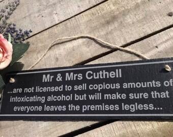 Exclusive Personalised Pub Bar Licensee Beer Garden Man Cave Shed Kitchen Laser Engraved Slate Sign Plaque