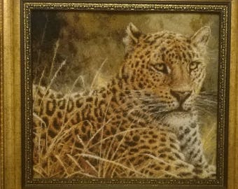 Embroidered picture Leopard 44 х 41 cm