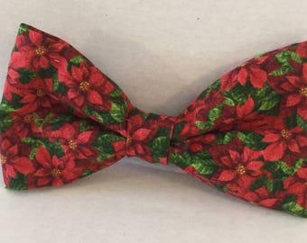 Christmas Poinsettis  Pet Bow Tie