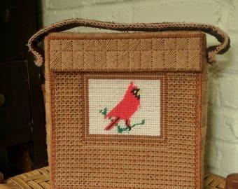 Vintage needlepoint bag with cardinal