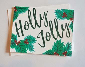 Holly Jolly Single Folded Card and Matching Envelope