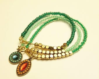 Teal Stacking Bracelets