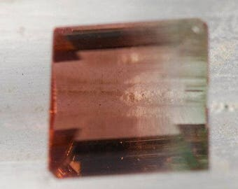 Bicolor Tourmaline, Faceted Irregular Shape, Green, through Blood Orange Color, 9 x 8 mm, 3.4ct, Brazil