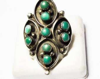 Antique Sterling Silver Turquoise Round Cluster Elongated Scale Ring Size 7