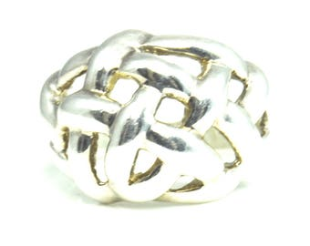 Beautiful Sterling Silver Basket Weave Ring 16mm Size 8