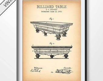BILLIARD TABLE patent print, billiard poster, billiard printable, billiard blueprint, billiard decor, billiard wall art, billiard pool
