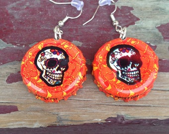 Dia De Los Meurtos Beer BottleCap earrings