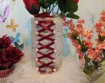Corset Tutu Vase, Glass Bridal, Glass Vase, Tutu, Corset, Vase, Wedding Centerpiece, Centerpiece vases, Ballet, Sweet 16, Wedding, Favors