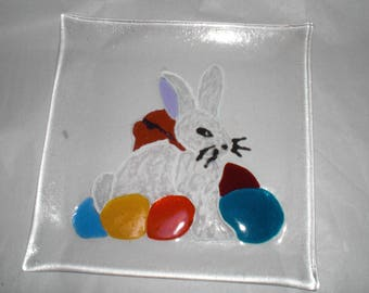 Easter plate, Glasfusing, Easter plate, glass fusing
