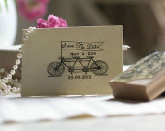 Save The Date Stamp, Tandem Bike Design, Wedding or Party Stamp