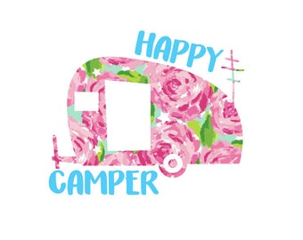 Happy Camper Decal, Camper Decal, Vinyl Decal, Yeti Cup Decal, Car Decal, Laptop Decal, Ozark Decal, Camping Decal