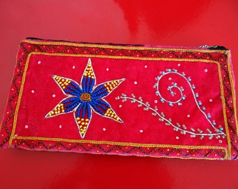 Embroidered velvet Myanmar pouch