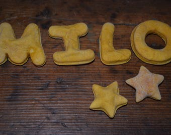"""Personalized Dog Treats by """"In the Name of the Dog,"""" 4 LETTERS, Handmade w Organic Flour, Natural Purees, & Spices/Oils, Dog Name Biscuits"""